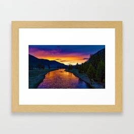 Sundown At Yellowstone Framed Art Print