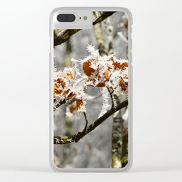Frosted Leaves Clear iPhone Case
