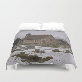 Seasalter Old Church In Winter Duvet Cover