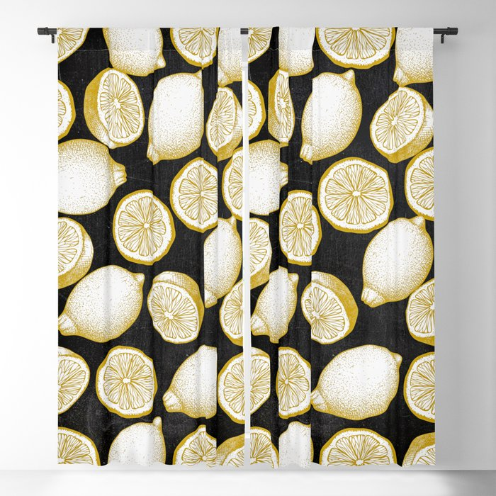 Lemons on black background Blackout Curtain