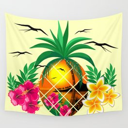 Pineapple Tropical Sunset, Palm Tree and Flowers Wall Tapestry