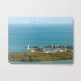 Boca Chita Key and The Miami Skyline Metal Print