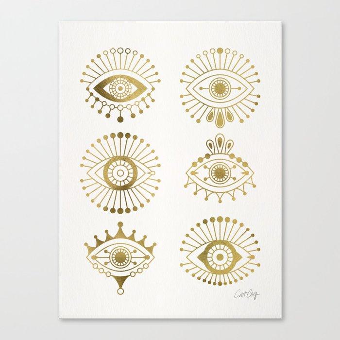 Evil Eyes – Gold Palette Leinwanddruck