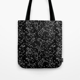 Constellations animal constellations stars outer space night sky pattern by andrea lauren black Tote Bag