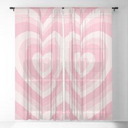 Pink Love Hearts  Sheer Curtain