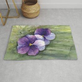 Purple Pansies Watercolor Flowers Painting Violet Floral Art Rug