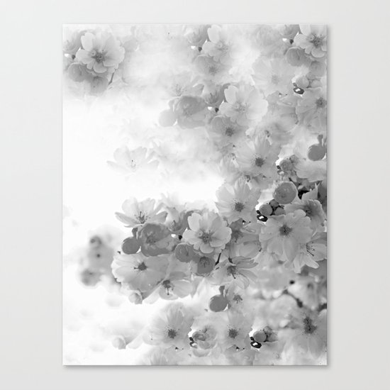 CHERRY BLOSSOMS GRAY AND WHITE Canvas Print