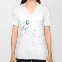 sofa V-neck T-shirts featuring Girl on the sofa by Anastasia Efthias