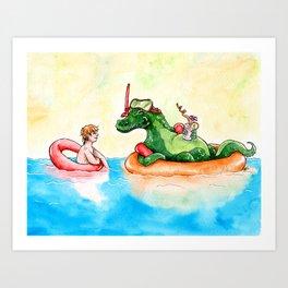 Croco Bath Art Print