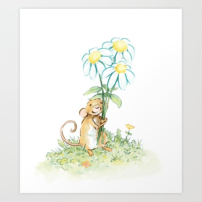 Mouse Holding Flowers Art Print