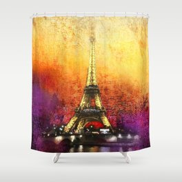Eiffel Tower At Sunset Shower Curtain