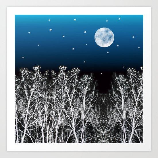 White Woods Moon Art Print