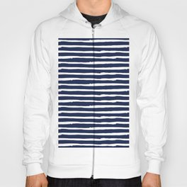 Navy Blue Stripes on White II Hoody