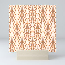 Orange Japanese wave pattern Mini Art Print