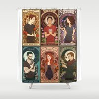 nouveau Shower Curtains featuring Nouveau Wolf by callahaa