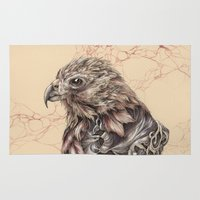hawk Area & Throw Rugs featuring Hawk by Adrian Chin