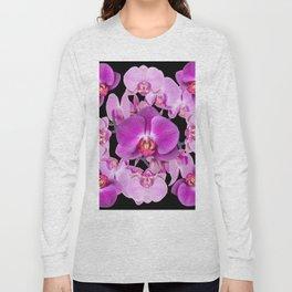 Modern  Ornate Pink & Purple  Moth Orchids Black Colored Art Long Sleeve T-shirt