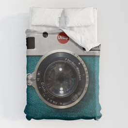 Blue Teal retro vintage camera with germany lens Duvet Cover