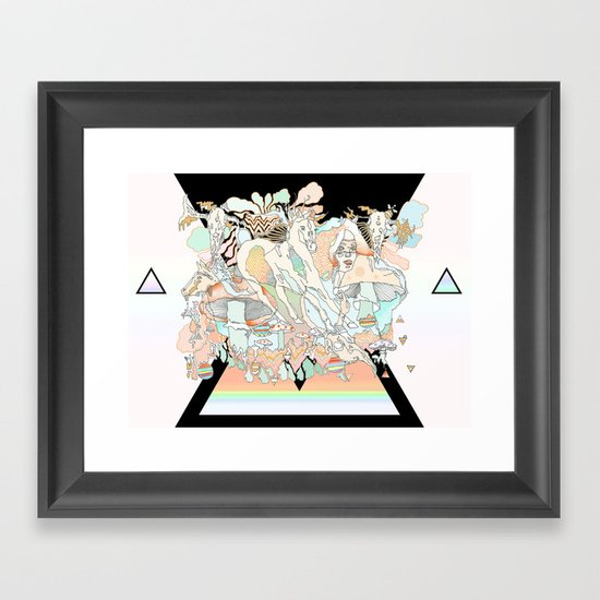 mushrooms & horses Framed Art Print