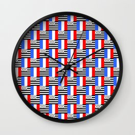 Mix of flag: france and brittany Wall Clock