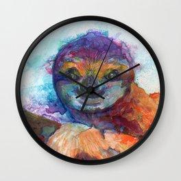Sloth Mixed Media on Yupo Wall Clock