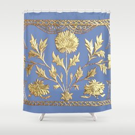 pianoflora horizontal (greek blue) Shower Curtain
