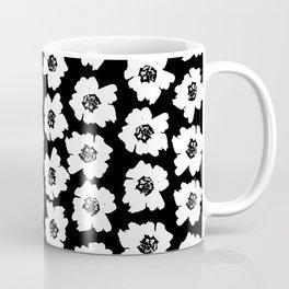 Linocut botanical nature floral flower art nursery black and white decor newborn Coffee Mug