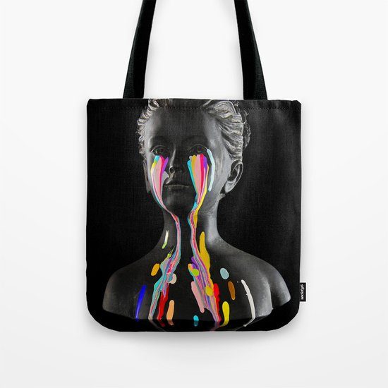 The Girl With Stars In Her Eyes (Black Background) Tote Bag