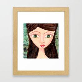 Green-eyed girl Framed Art Print