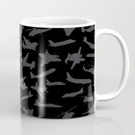 Aircraft Silhouettes, Black Grey Pattern Coffee Mug