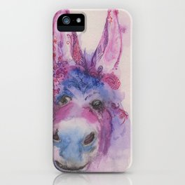 Ink Animals of Africa - Dreamy Donkey iPhone Case