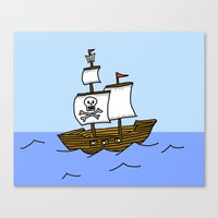 pirate ship Canvas Prints featuring Pirate Ship by Isobel Woodcock Illustration