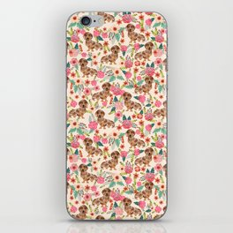 Dapple cream Dachshund doxie floral florals dog breed gifts for pupper must haves iPhone Skin