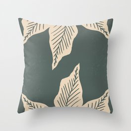 Surrounded by Plant Lovers - Green & Beige Throw Pillow