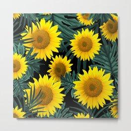 Tropical Sunflower Jungle Night Leaves Pattern #1 #tropical #decor #art #society6 Metal Print