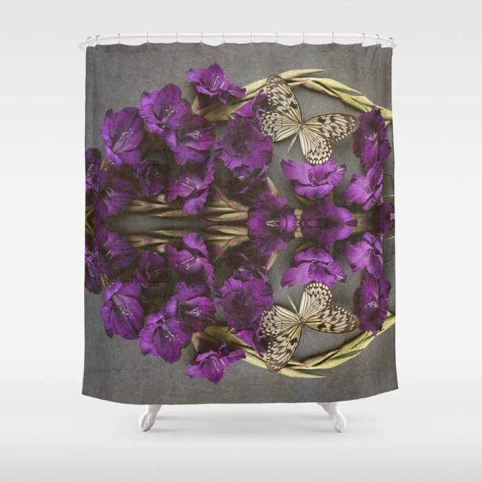 Indigo Flowers and Butterflies Shower Curtain