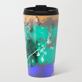 tree branch with leaf and painting abstract background in brown blue green black Travel Mug
