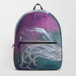 Surreal birds fly in a stormy sky Backpack