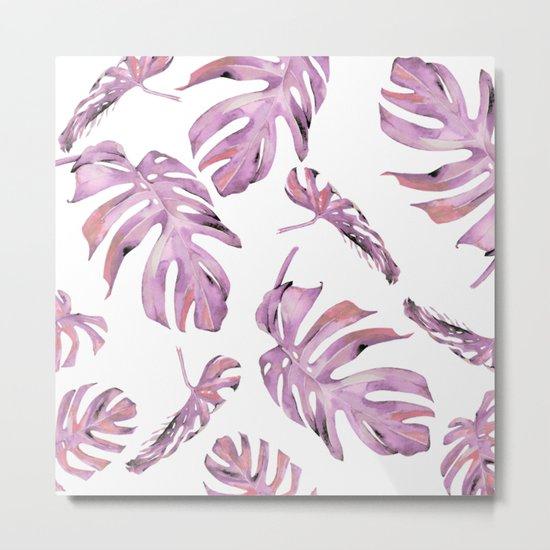 Monstera Pattern Pink #society6 #buyart Metal Print