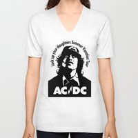 acdc V-neck T-shirts featuring Ac/Dc angus young by aceofspades81