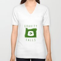 fez V-neck T-shirts featuring Gravity Falls - Grunkle Stan's Fez (White) by pondlifeforme