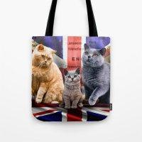 british flag Tote Bags featuring British Shorthair by Selina Morgan