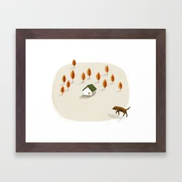 The little house surrounded by trees Framed Art Print