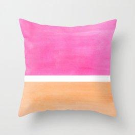 Colorful Bright Minimalist Rothko Pastel Pink Peach Midcentury Modern Art Vintage Pop Art Throw Pillow