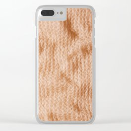 Beige fluffy knitted fabric texture abstract Clear iPhone Case