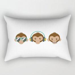 Three Monkeys Rectangular Pillow