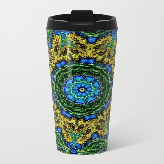 Lovely Healing Mandalas in Brilliant Colors: Hunter Green, Green, Navy, Light Blue, and Goldenrod Metal Travel Mug
