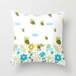 Bee Flaying Throw Pillow
