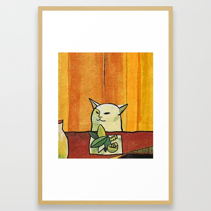 Woman yelling at a cat meme- Picasso style Framed Art Print