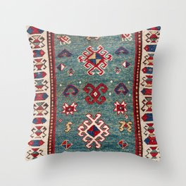 Chevron Stars // 19th Century Colorful Steel Blue Light Green Teal Checkered Ornate Accent Pattern Throw Pillow